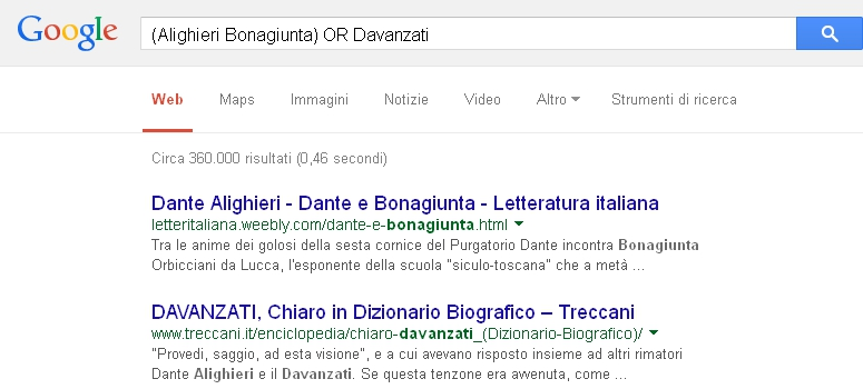 Google - AND e OR insieme