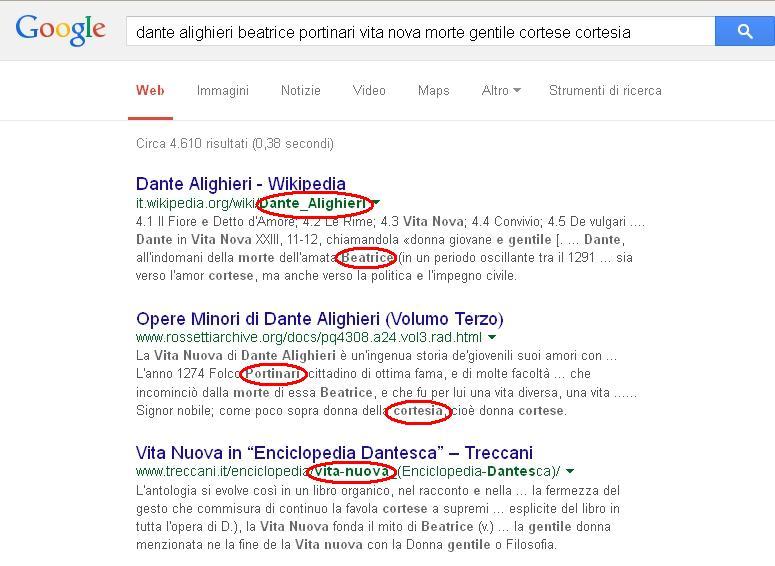 Google - In grassetto termini ricercati