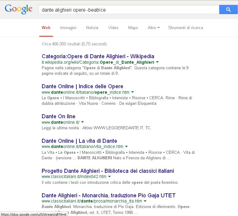 Google - Operatore NOT (o meno)