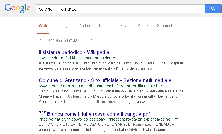 Google - Operatore + più