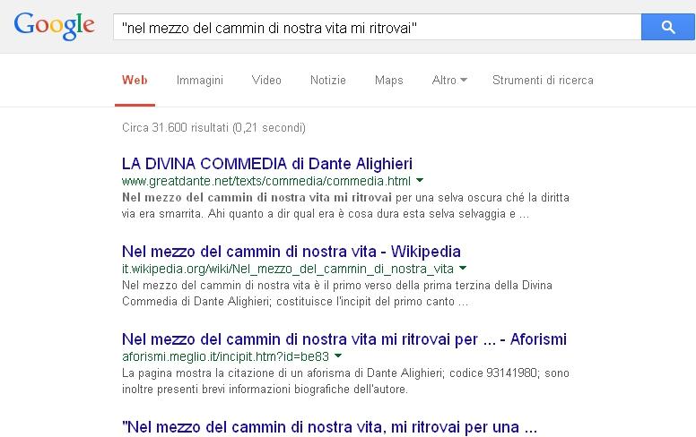 Google - Ricerca operatore doppi apici