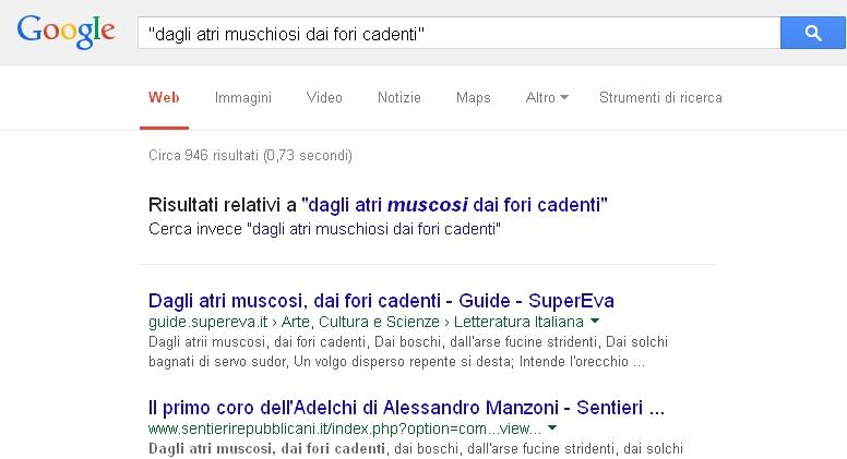 Google - Ricerca con doppi apici