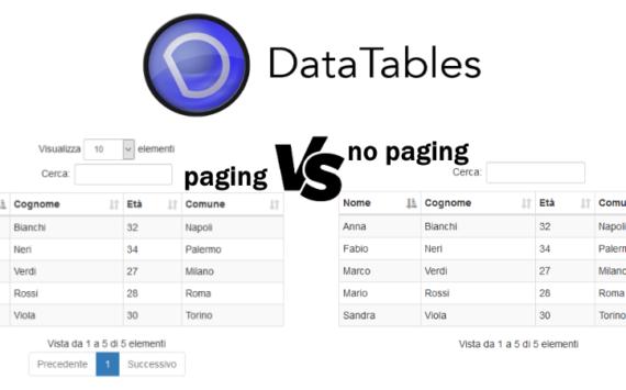 Rimuovere paginazione in una jQuery DataTables