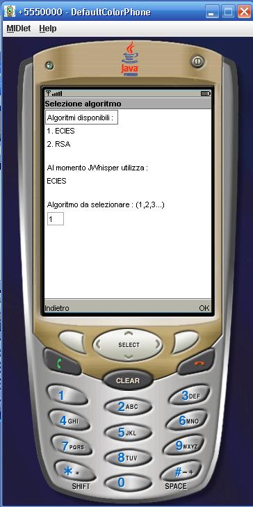 Scelta Algoritmo JWhisper
