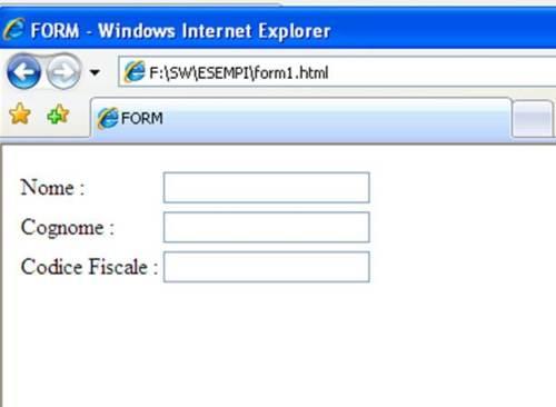 Form HTML esempio