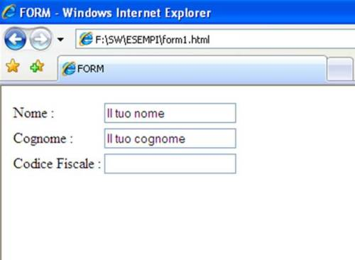 Form HTML esempio value