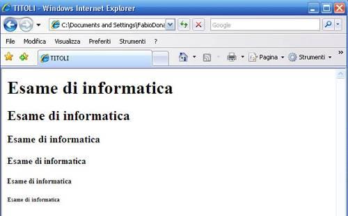 Titoli HTML